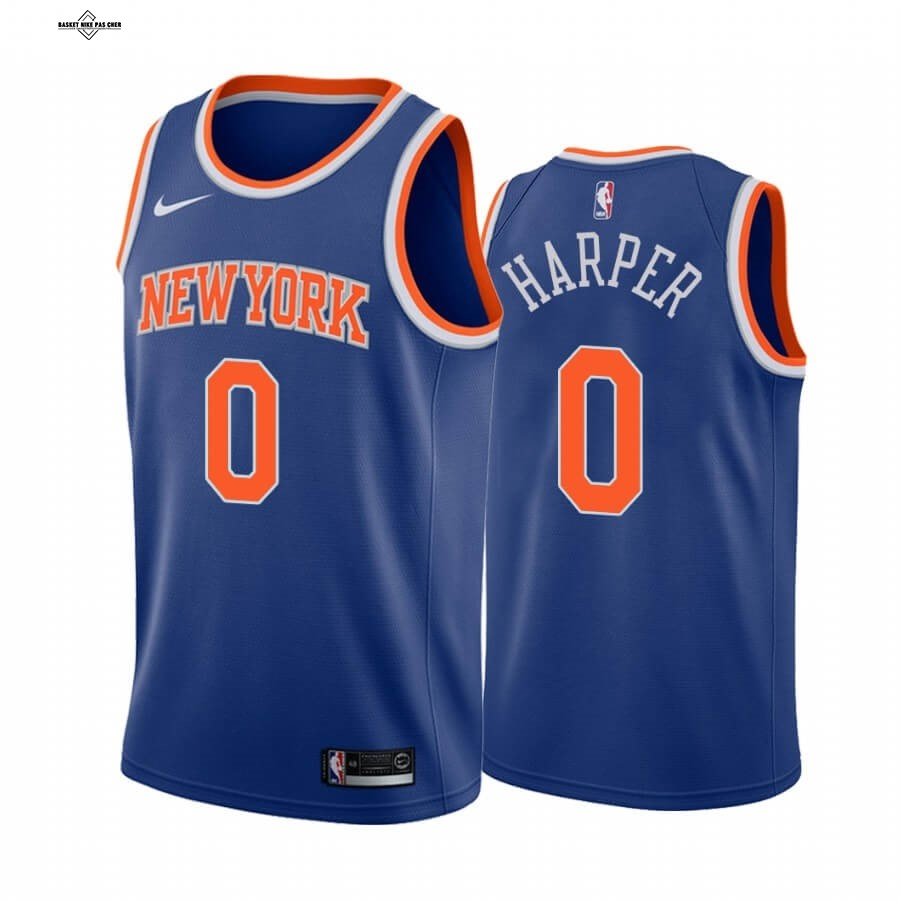 Maillot NBA Pas Cher - Maillot NBA Nike New York Knicks NO.0 Jared Harper Bleu Icon 2020-21