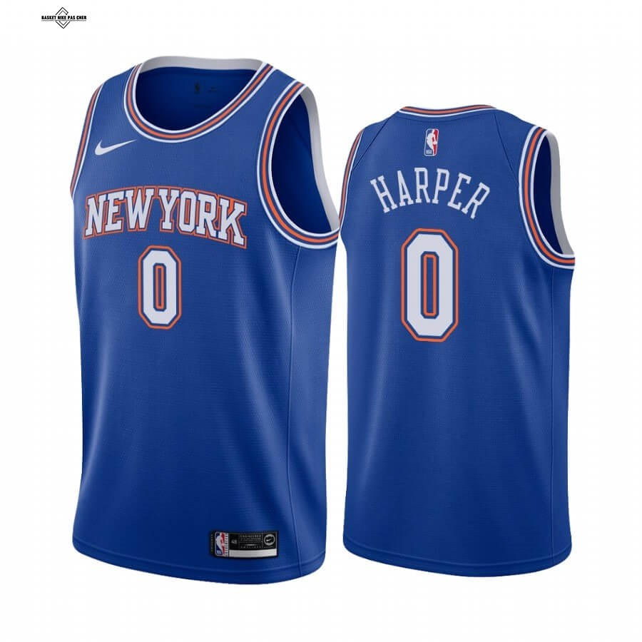 Maillot NBA Pas Cher - Maillot NBA Nike New York Knicks NO.0 Jared Harper Bleu Statement 2020-21