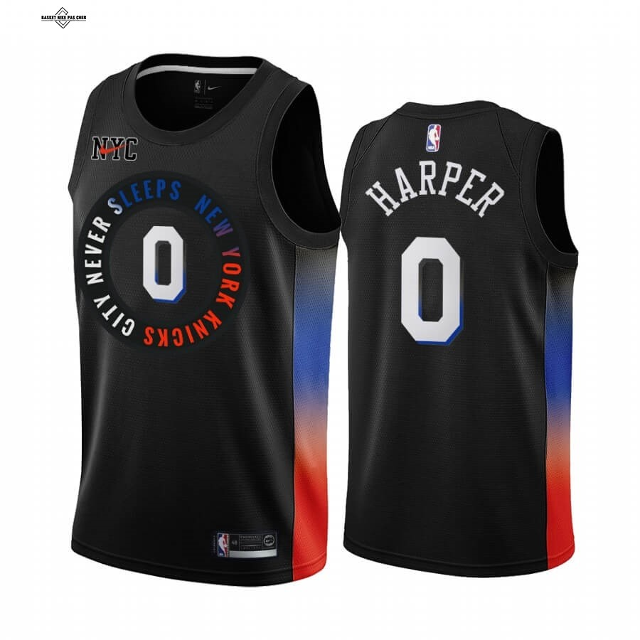 Maillot NBA Pas Cher - Maillot NBA Nike New York Knicks NO.0 Jared Harper Noir Ville 2020-21