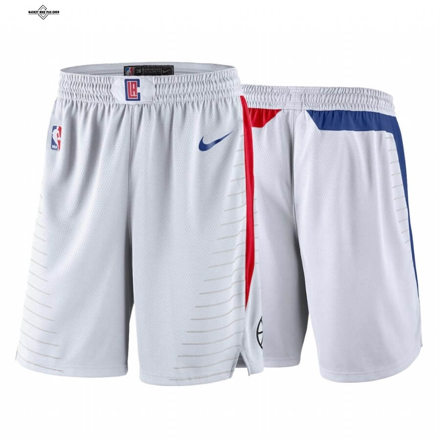 Maillot NBA Pas Cher - Short Basket Los Angeles Clippers Blanc Association 2020