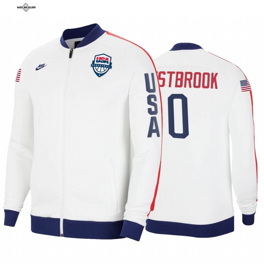 Maillot NBA Pas Cher - Survetement NBA Houston Rockets NO.0 Russell Westbrook 2020 Tokyo Olympics Blanc