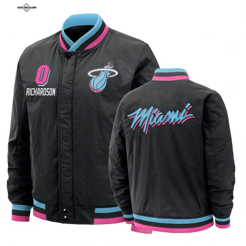 Maillot NBA Pas Cher - Survetement NBA Miami Heat NO.0 Josh Richardson Noir Ville 2020