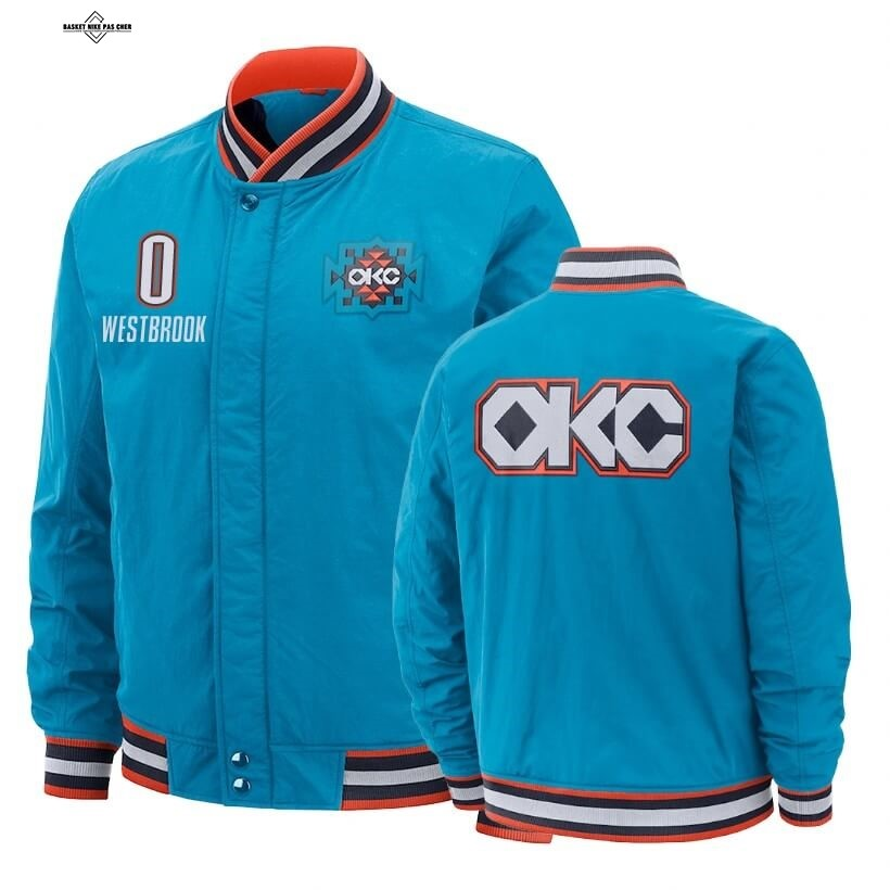 Maillot NBA Pas Cher - Survetement NBA Oklahoma City Thunder NO.0 Russell Westbrook Bleu Ville 2020
