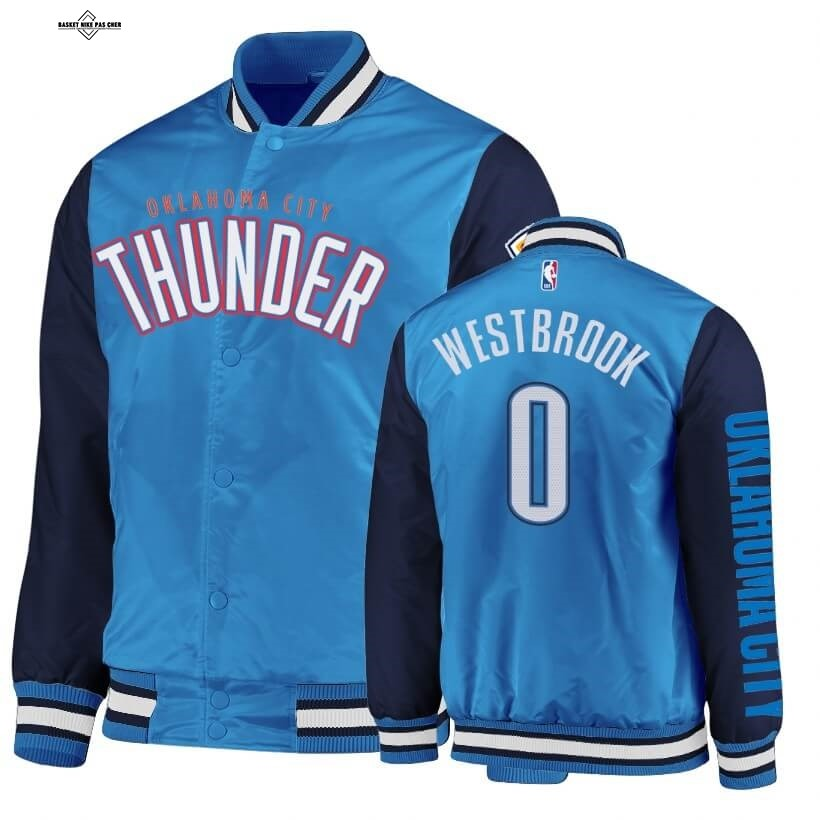 Maillot NBA Pas Cher - Survetement NBA Oklahoma City Thunder NO.0 Russell Westbrook Marine Bleu 2020