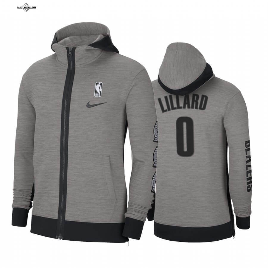 Maillot NBA Pas Cher - Survetement NBA Portland Trail Blazers NO.0 Damian Lillard Gris 2020-21