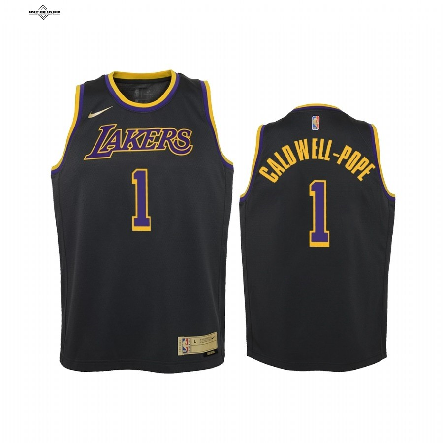 Maillot NBA Pas Cher - Maillot NBA Enfant Earned Edition Los Angeles Lakers NO.1 Kentavious Caldwell Pope Noir 2021