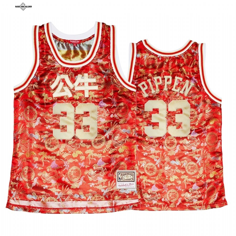 Maillot NBA Pas Cher - Maillot NBA Femme Chicago Bulls NO.33 Scottie Pippen CNY Rouge Hardwood Classics 2021