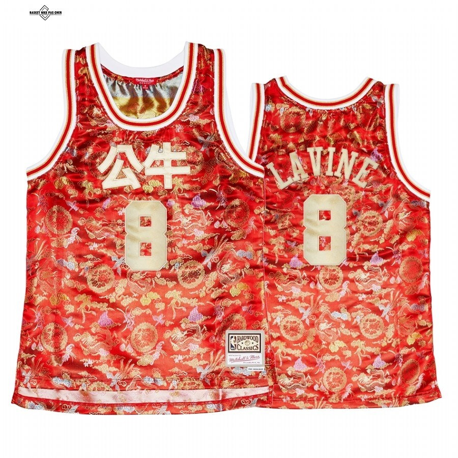 Maillot NBA Pas Cher - Maillot NBA Femme Chicago Bulls NO.8 Zach LaVine CNY Rouge Hardwood Classics 2021