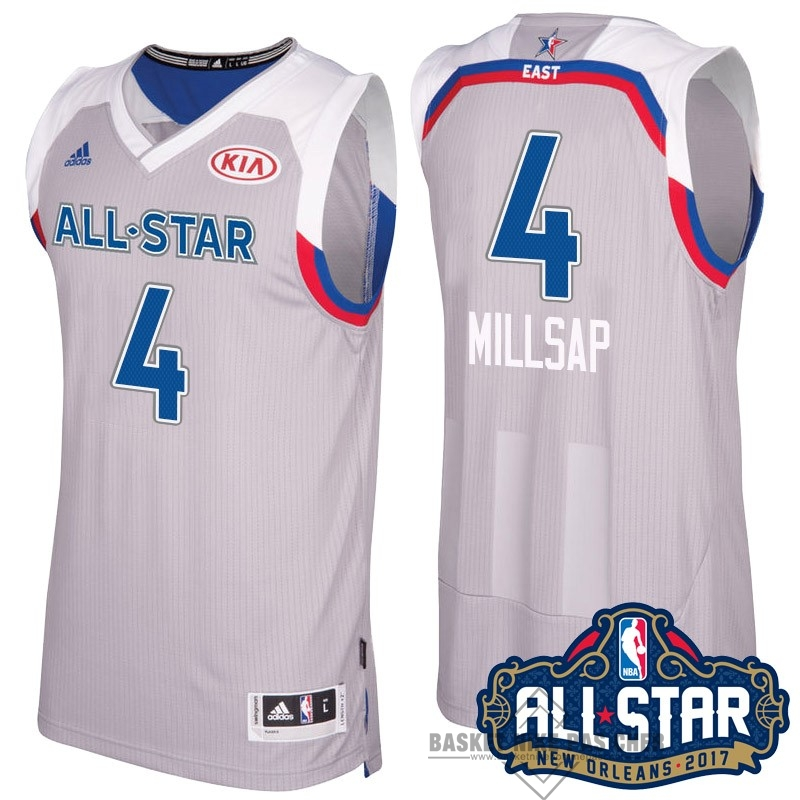 Maillot NBA Pas Cher - Maillot NBA 2017 All Star NO.4 Paul Millsap Gray