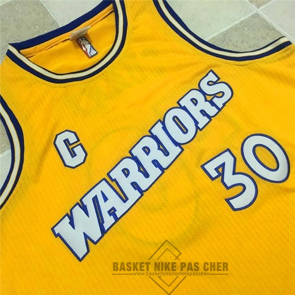 Maillot NBA Pas Cher - Maillot NBA Golden State Warriors NO.30 Stephen Curry Retro Jaune Blanc