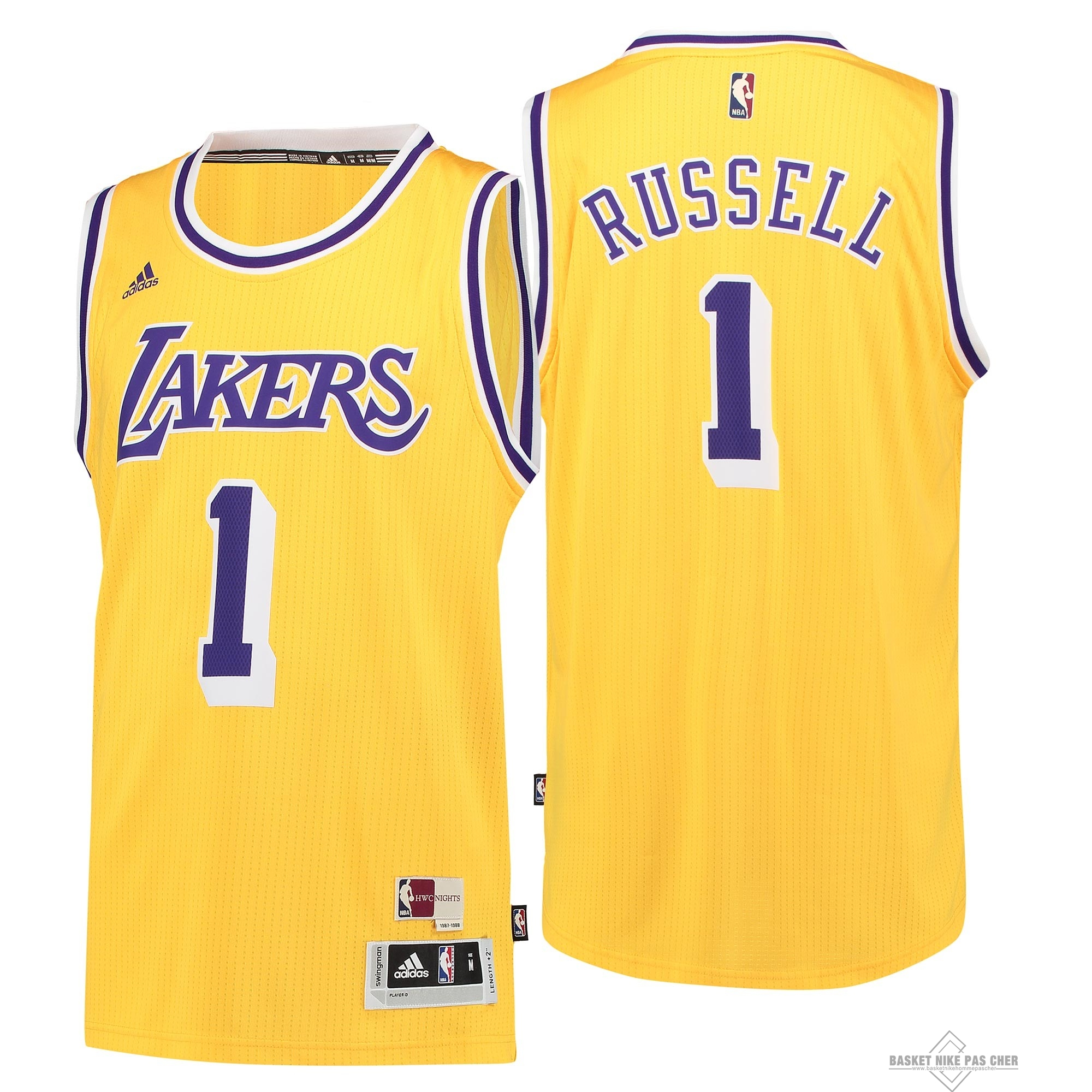 Maillot NBA Pas Cher - Maillot NBA Los Angeles Lakers NO.1 D'Angelo Russell Retro Bleu