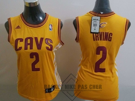 Maillot NBA Pas Cher - Maillot NBA Femme Cleveland Cavaliers NO.2 Kyrie Irving Blanc Bande