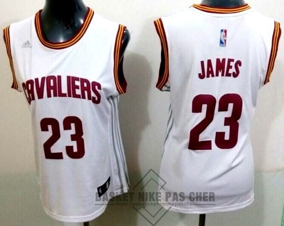 Maillot NBA Pas Cher - Maillot NBA Femme Cleveland Cavaliers NO.23 LeBron James Blanc Bande