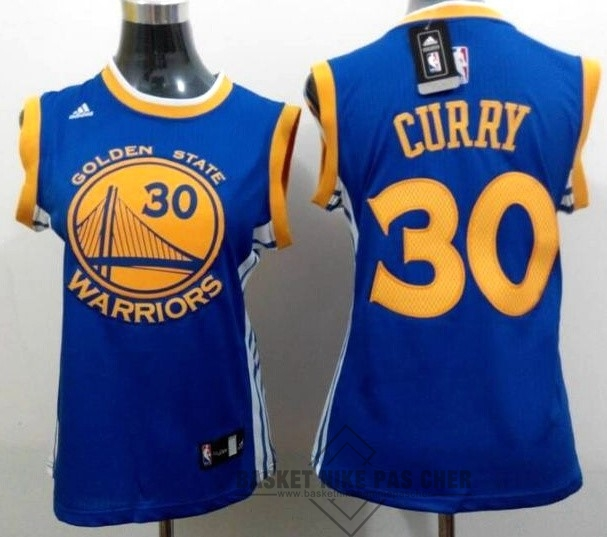 Maillot NBA Pas Cher - Maillot NBA Femme Golden State Warriors NO.30 Stephen Curry Bleu Jaune