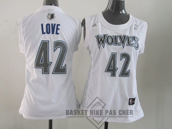 Maillot NBA Pas Cher - Maillot NBA Femme Minnesota Timberwolves NO.42 Kevin Love Blanc