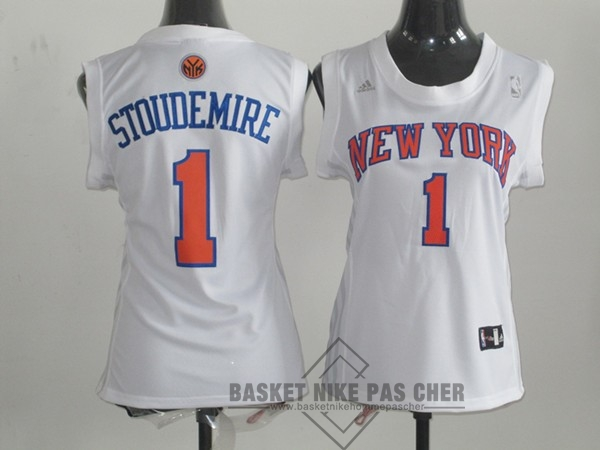 Maillot NBA Pas Cher - Maillot NBA Femme New York Knicks NO.1 Amar'e Stoudemire Blanc