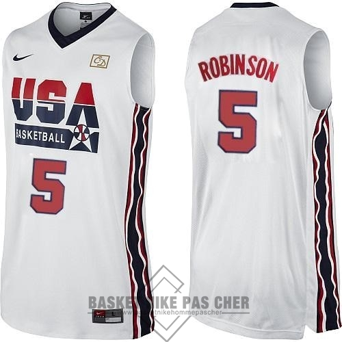 Maillot NBA Pas Cher - Maillot NBA 1992 USA NO.5 David Robinson Blanc