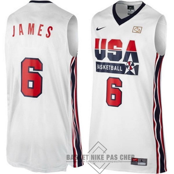 Maillot NBA Pas Cher - Maillot NBA 1992 USA NO.6 James Blanc