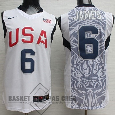Maillot NBA Pas Cher - Maillot NBA 2008 USA NO.6 James Blanc