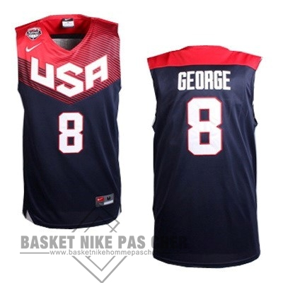 Maillot NBA Pas Cher - Maillot NBA 2014 USA NO.8 George Noir