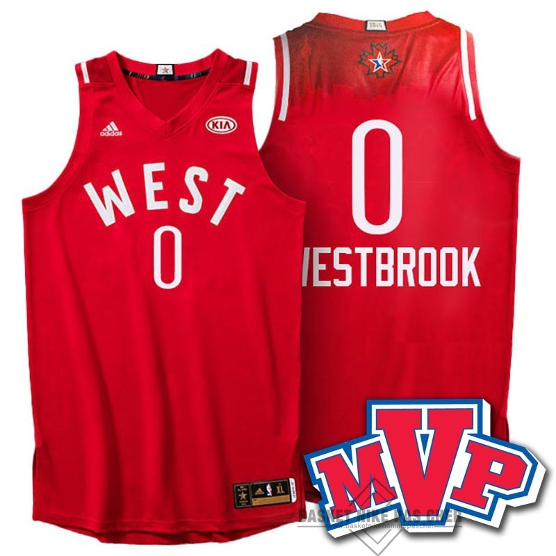 Maillot NBA Pas Cher - Maillot NBA 2016 All Star NO.0 Russell Westbrook Rouge
