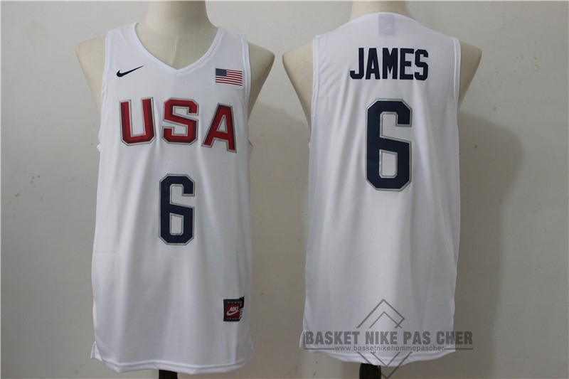 Maillot NBA Pas Cher - Maillot NBA 2016 USA NO.6 James Blanc