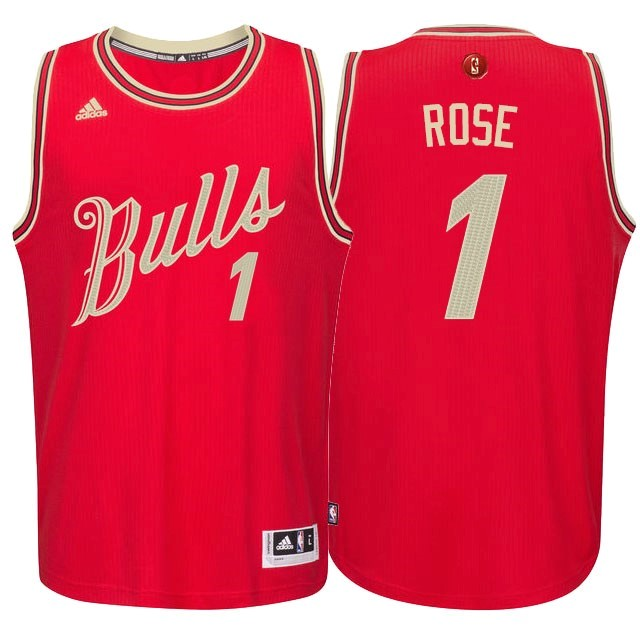 Maillot NBA Pas Cher - Maillot NBA Chicago Bulls 2015 Noël NO.1 Rose Rouge