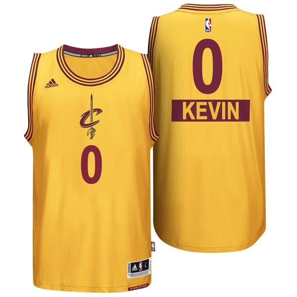 Maillot NBA Pas Cher - Maillot NBA Cleveland Cavaliers 2014 Noël NO.0 Kevin Jaune