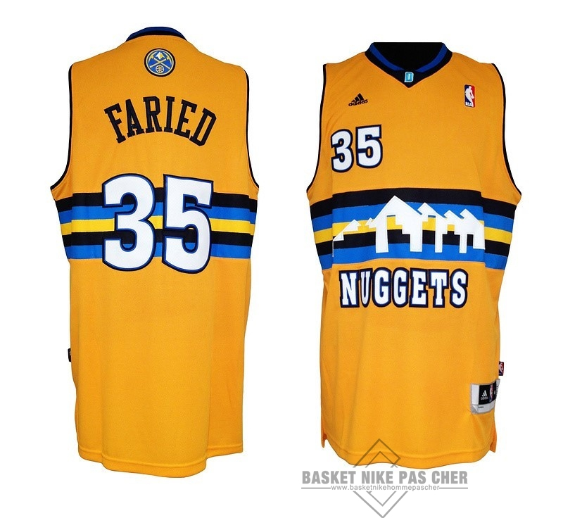 Maillot NBA Pas Cher - Maillot NBA Denver Nuggets NO.35 Kenneth Faried Jaune
