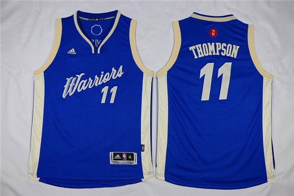Maillot NBA Pas Cher - Maillot NBA Enfant 2015 Noël Golden State Warriors NO.11 Klay Thompson Bleu