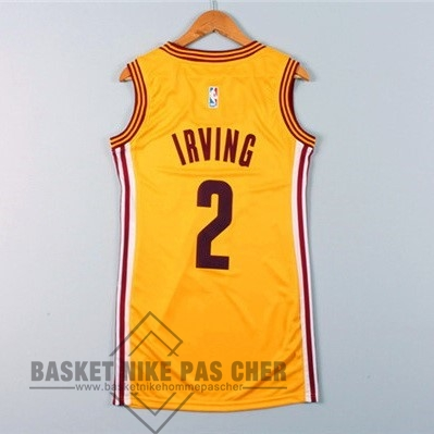 Maillot NBA Pas Cher - Maillot NBA Femme Cleveland Cavaliers NO.2 Kyrie Irving Jaune