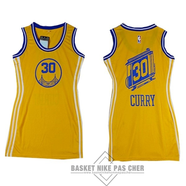 Maillot NBA Pas Cher - Maillot NBA Femme Golden State Warriors NO.30 Stephen Curry Jaune