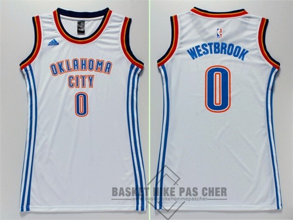 Maillot NBA Pas Cher - Maillot NBA Femme Oklahoma City Thunder NO.0 Russell Westbrook Blanc