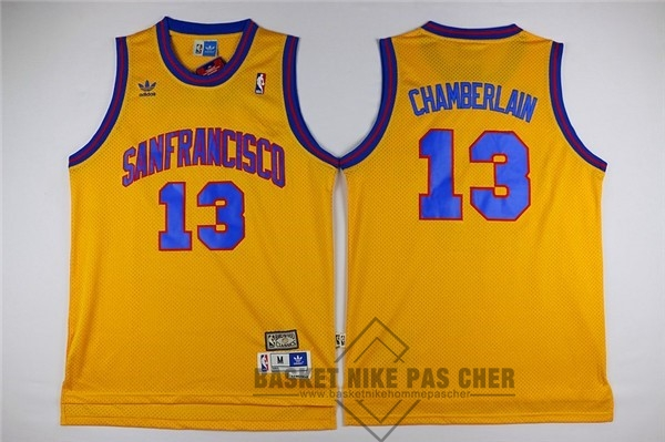 Maillot NBA Pas Cher - Maillot NBA Golden State Warriors NO.13 Wilt Chamberlain Jaune