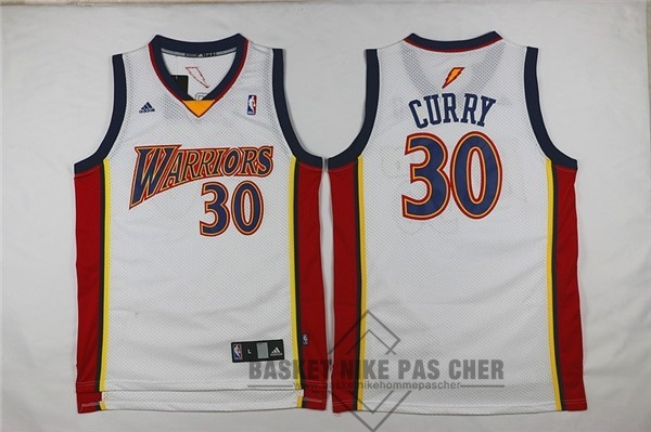 Maillot NBA Pas Cher - Maillot NBA Golden State Warriors NO.30 Stephen Curry Retro Blanc
