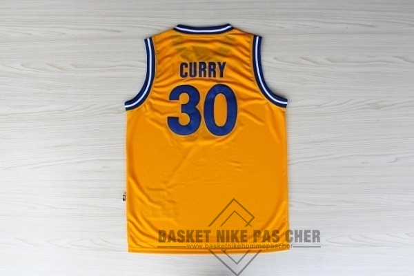 Maillot NBA Pas Cher - Maillot NBA Golden State Warriors NO.30 Stephen Curry Retro Jaune