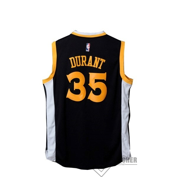 Maillot NBA Pas Cher - Maillot NBA Golden State Warriors NO.35 Kevin Durant Noir Blanc