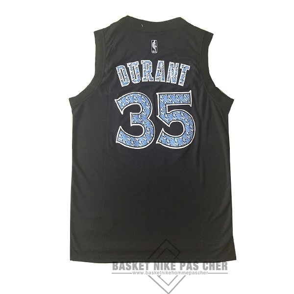 Maillot NBA Pas Cher - Maillot NBA Golden State Warriors NO.35 Kevin Durant Noir Diamant