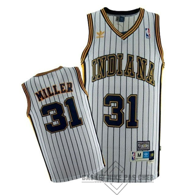 Maillot NBA Pas Cher - Maillot NBA Indiana Pacers NO.31 Reggie Miller Blanc Bande