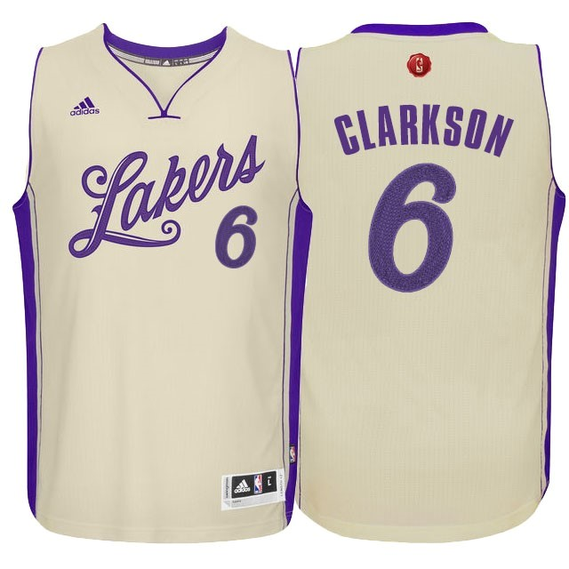 Maillot NBA Pas Cher - Maillot NBA Los Angeles Lakers 2015 Noël NO.6 Clarkson Blanc