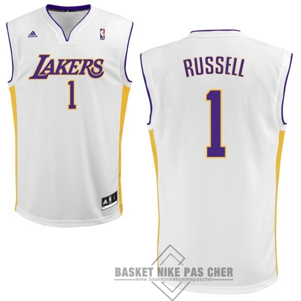 Maillot NBA Pas Cher - Maillot NBA Los Angeles Lakers NO.1 D'Angelo Russell Blanc