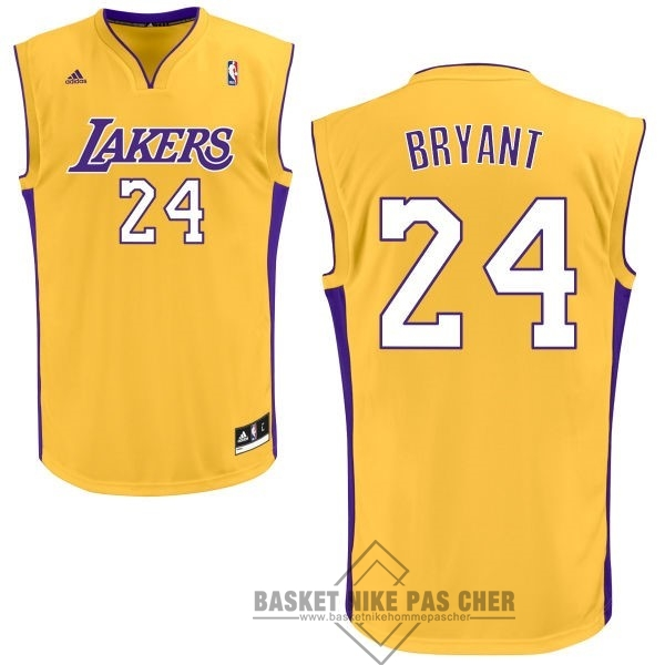 Maillot NBA Pas Cher - Maillot NBA Los Angeles Lakers NO.24 Kobe Bryant Jaune