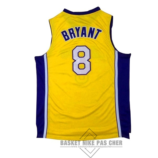 Maillot NBA Pas Cher - Maillot NBA Los Angeles Lakers NO.8 Kobe Bryant Jaune Pourpre