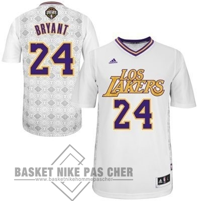 Maillot NBA Pas Cher - Maillot NBA Los Angeles Lakers Nuits Latine Manche Courte NO.24 Bryant Blanc