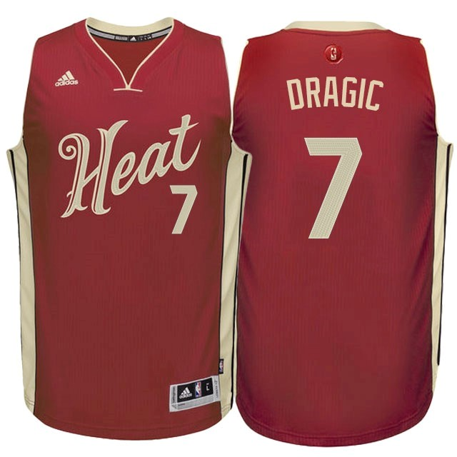 Maillot NBA Pas Cher - Maillot NBA Miami Heat 2015 Noël NO.7 Dragic Rouge