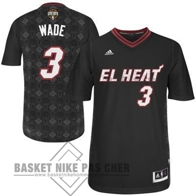 Maillot NBA Pas Cher - Maillot NBA Miami Heat Nuits Latine Manche Courte NO.3 Wade Noir