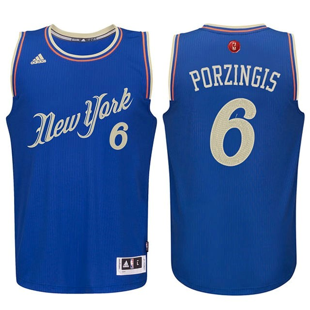 Maillot NBA Pas Cher - Maillot NBA New York Knicks 2015 Noël NO.6 Porzingis Bleu