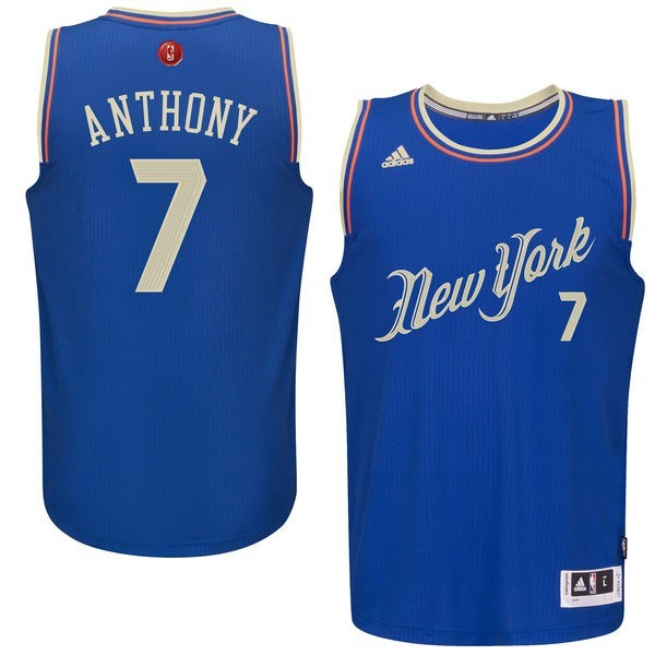 Maillot NBA Pas Cher - Maillot NBA New York Knicks 2015 Noël NO.7 Anthony Bleu