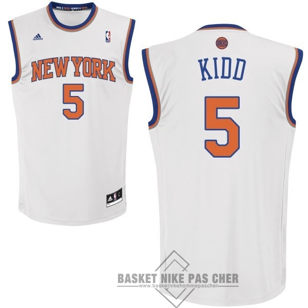 Maillot NBA Pas Cher - Maillot NBA New York Knicks NO.5 Jason Kidd Blanc