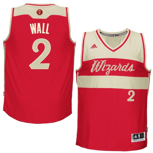 Maillot NBA Pas Cher - Maillot NBA Washington Wizards 2015 Noël NO.2 Wall Rouge